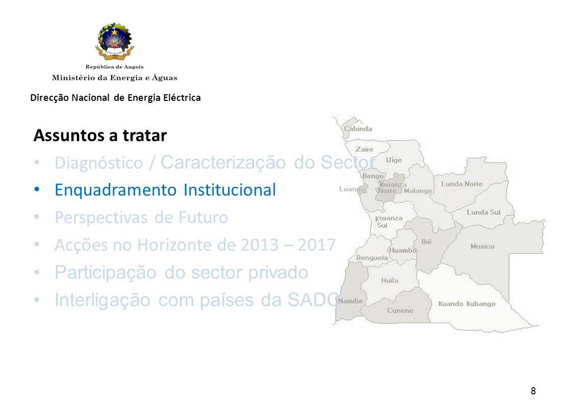 Direcção Nacional de Energia Eléctrica 8 Assuntos a tratar Diagnóstico / Caracterização do Sector Enquadramento Institucional Perspectivas de Futuro Acções no Horizonte de 2013 – 2017 Participação do sector privado Interligação com países da SADC