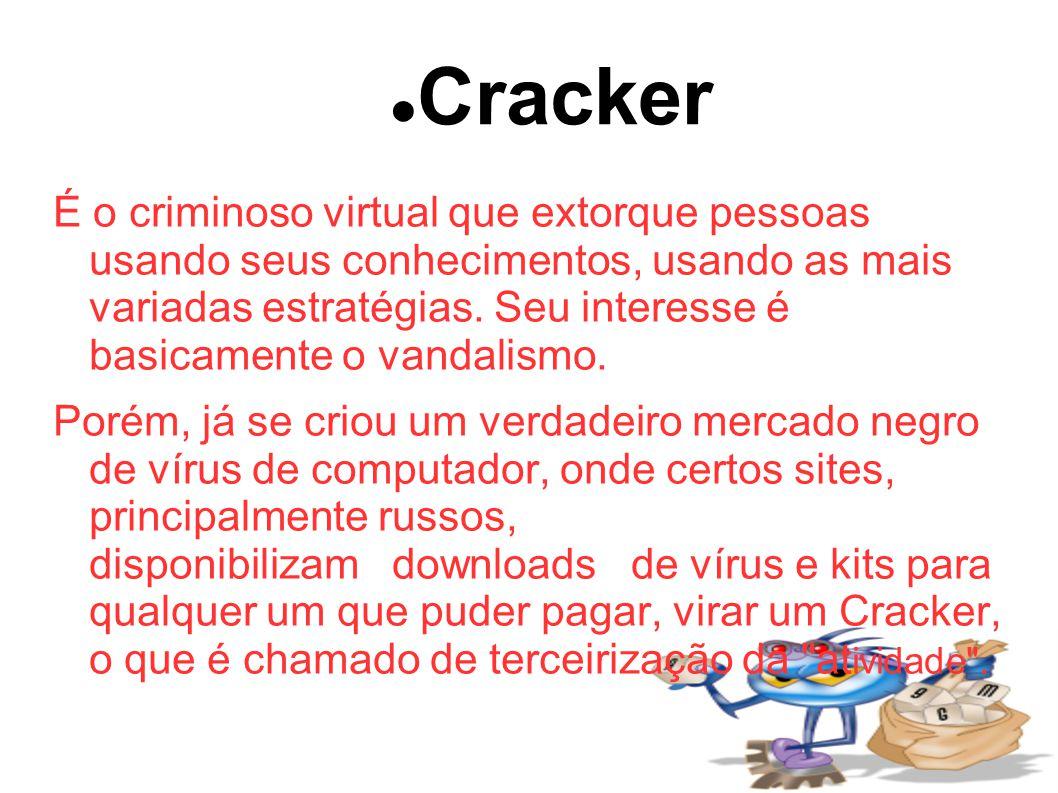 Cracker É o criminoso virtual que extorque pessoas usando seus conhecimentos, usando as mais variadas estratégias.