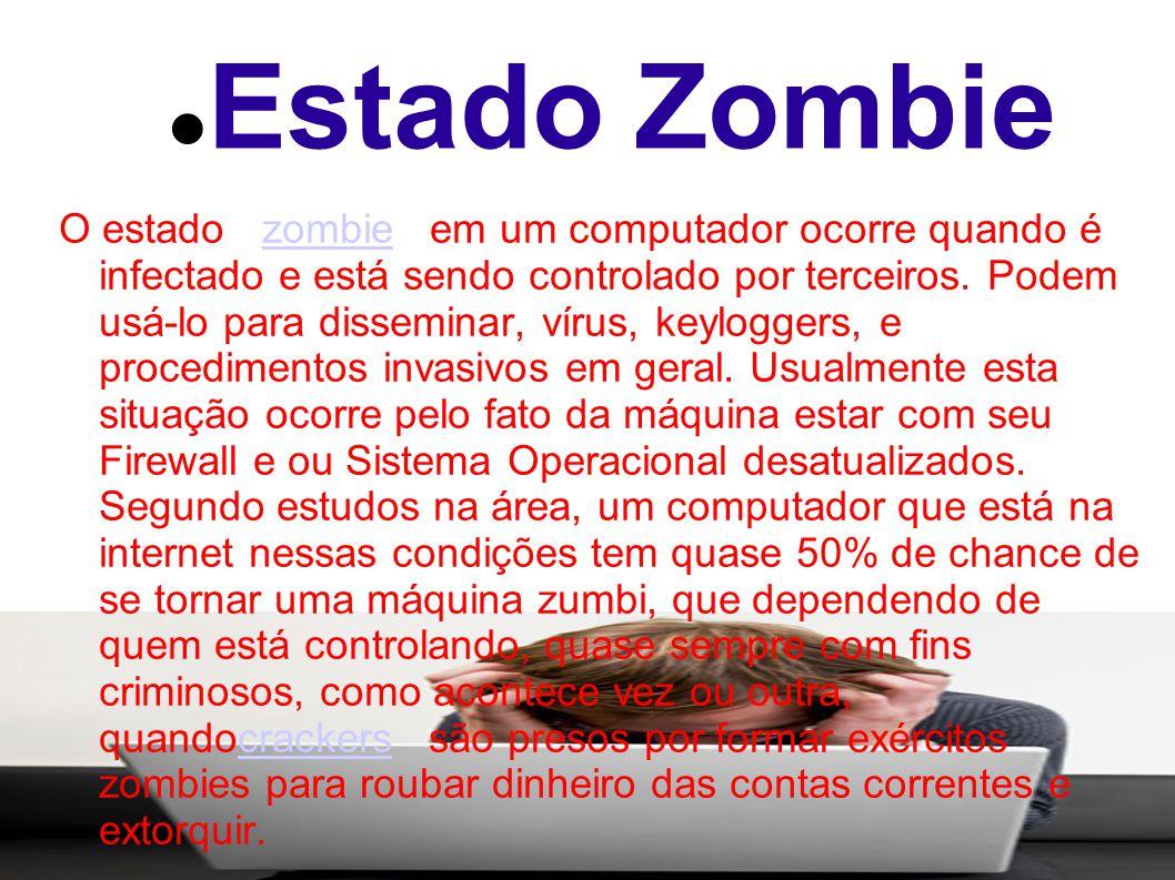 Estado Zombie O estado zombie em um computador ocorre quando é infectado e está sendo controlado por terceiros.