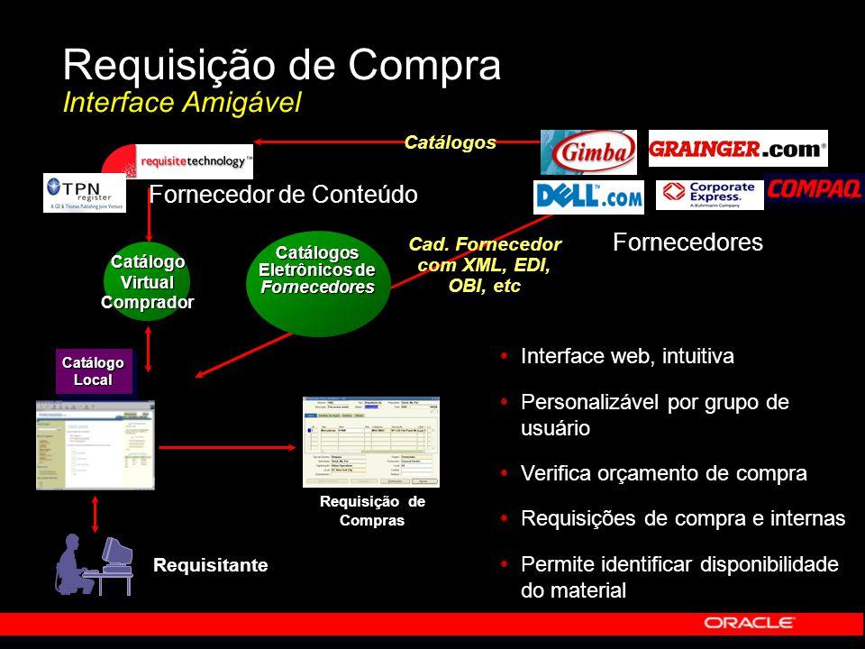 Requisição de Compra Interface Amigável Cad. Fornecedor com XML, EDI, OBI, etc Catálogos Catálogos Eletrônicos de Fornecedores Requisitante Fornecedor