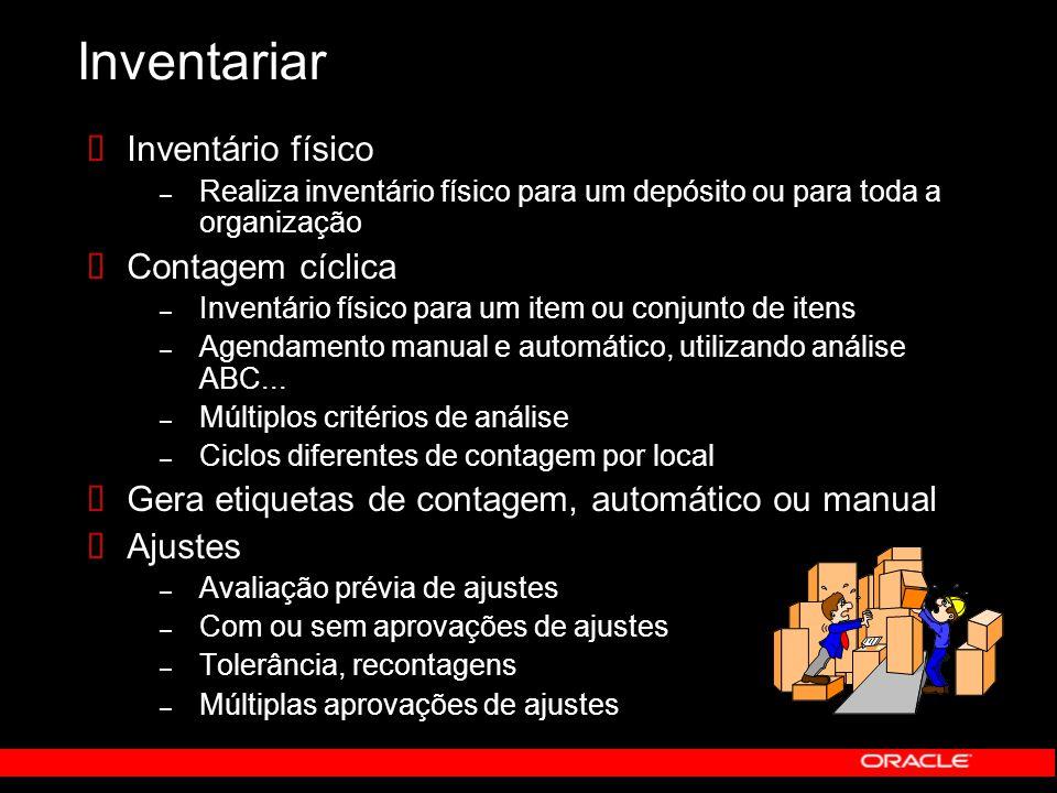 Inventariar  Inventário físico – Realiza inventário físico para um depósito ou para toda a organização  Contagem cíclica – Inventário físico para um