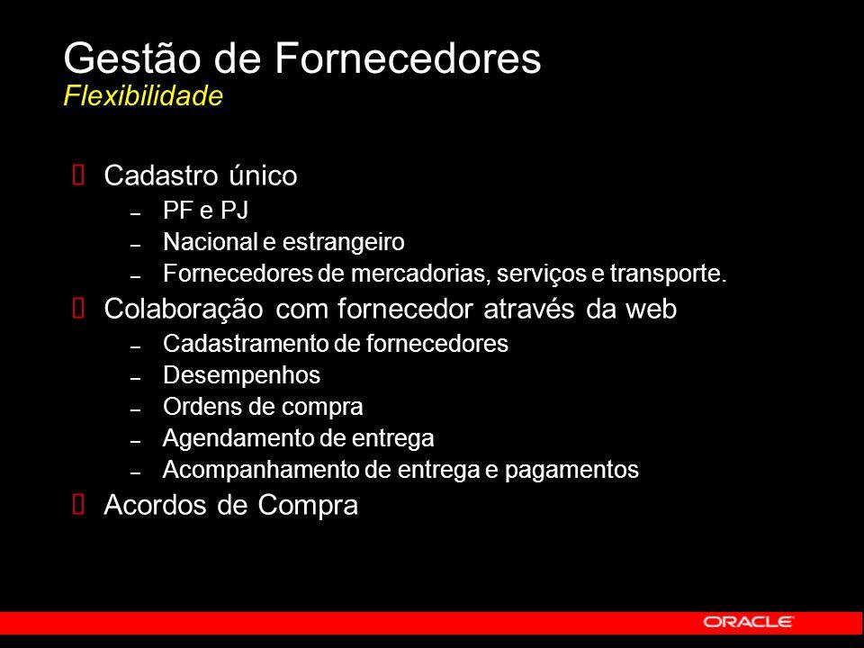 Gestão de Fornecedores Flexibilidade  Cadastro único – PF e PJ – Nacional e estrangeiro – Fornecedores de mercadorias, serviços e transporte.  Colab