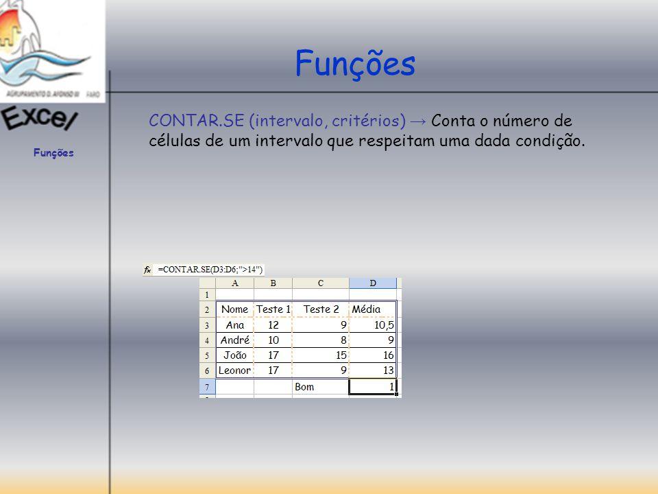 Funções SOMA.SE (intervalo; critérios; intervalo_soma) → Soma as células especificadas por uma determinada condição ou critérios.