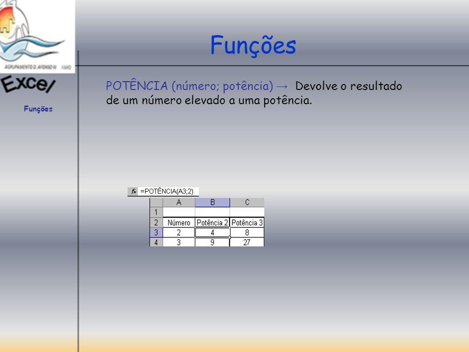 Funções POTÊNCIA (número; potência) → Devolve o resultado de um número elevado a uma potência.