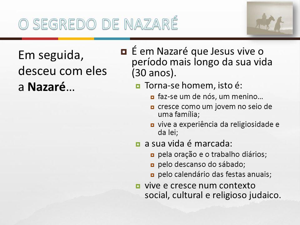  É em Nazaré que Jesus vive o período mais longo da sua vida (30 anos).  Torna-se homem, isto é:  faz-se um de nós, um menino…  cresce como um jov