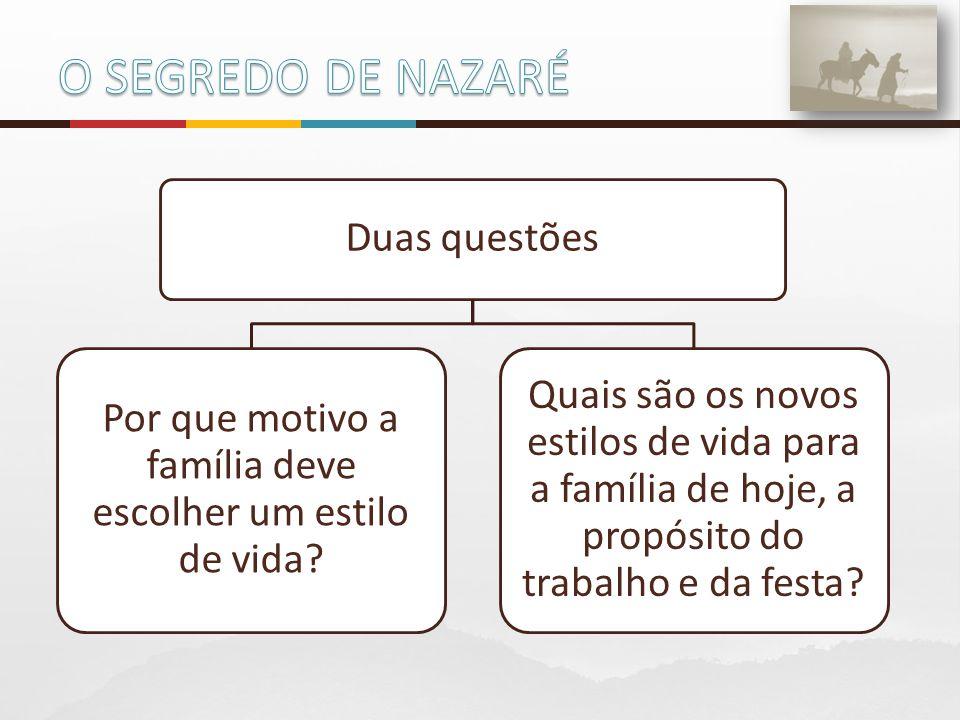 Duas questões Por que motivo a família deve escolher um estilo de vida? Quais são os novos estilos de vida para a família de hoje, a propósito do trab