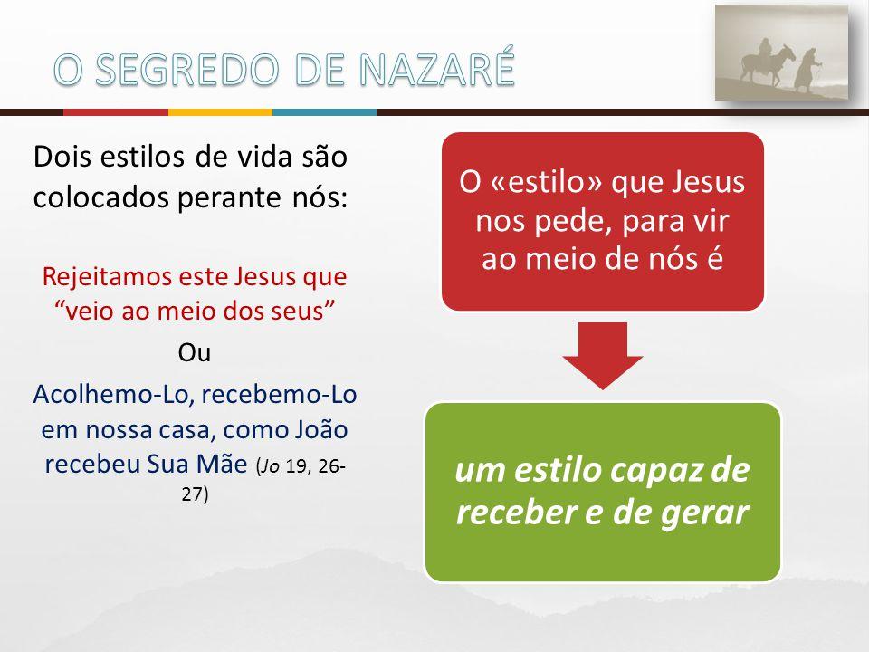 """Dois estilos de vida são colocados perante nós: Rejeitamos este Jesus que """"veio ao meio dos seus"""" Ou Acolhemo-Lo, recebemo-Lo em nossa casa, como João"""