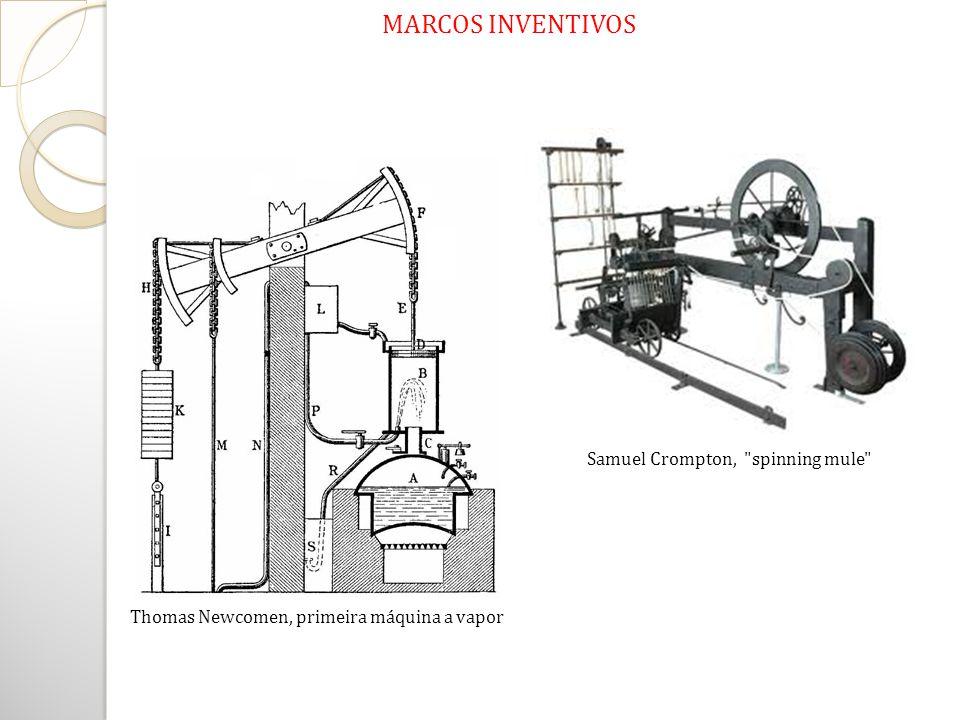 Thomas Newcomen, primeira máquina a vapor Samuel Crompton,