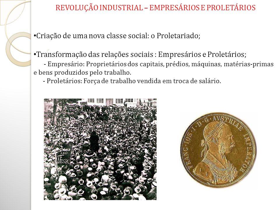 REVOLUÇÃO INDUSTRIAL – EMPRESÁRIOS E PROLETÁRIOS Criação de uma nova classe social: o Proletariado; Transformação das relações sociais : Empresários e