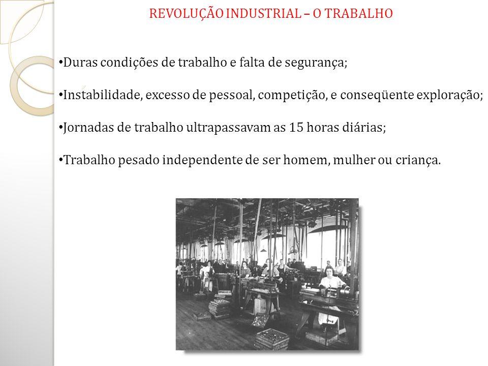 REVOLUÇÃO INDUSTRIAL – O TRABALHO Duras condições de trabalho e falta de segurança; Instabilidade, excesso de pessoal, competição, e conseqüente explo