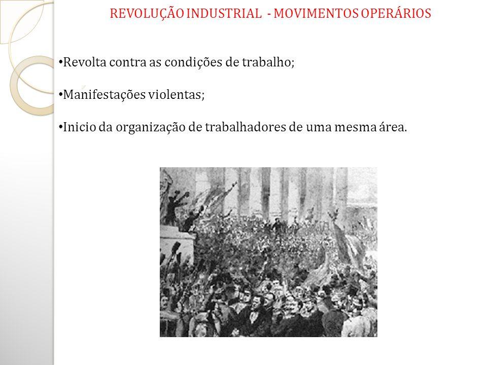 REVOLUÇÃO INDUSTRIAL - MOVIMENTOS OPERÁRIOS Revolta contra as condições de trabalho; Manifestações violentas; Inicio da organização de trabalhadores d