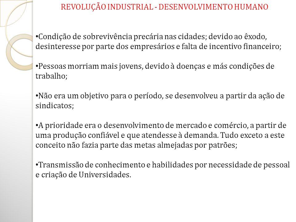 REVOLUÇÃO INDUSTRIAL - DESENVOLVIMENTO HUMANO Condição de sobrevivência precária nas cidades; devido ao êxodo, desinteresse por parte dos empresários