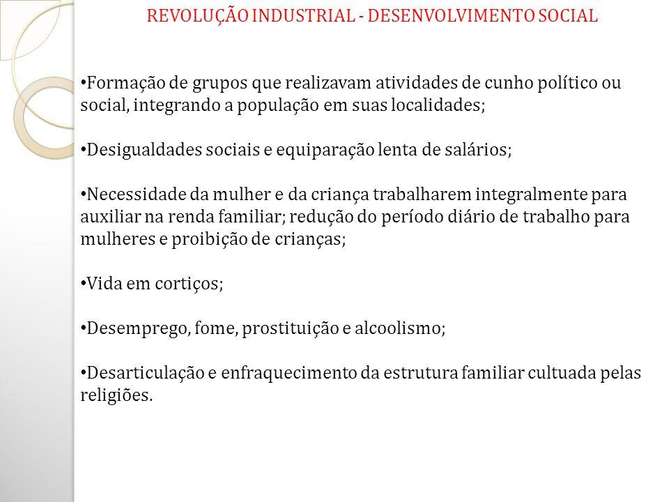 REVOLUÇÃO INDUSTRIAL - DESENVOLVIMENTO SOCIAL Formação de grupos que realizavam atividades de cunho político ou social, integrando a população em suas