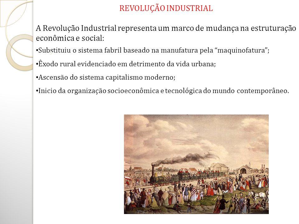 REVOLUÇÃO INDUSTRIAL A Revolução Industrial representa um marco de mudança na estruturação econômica e social: Substituiu o sistema fabril baseado na