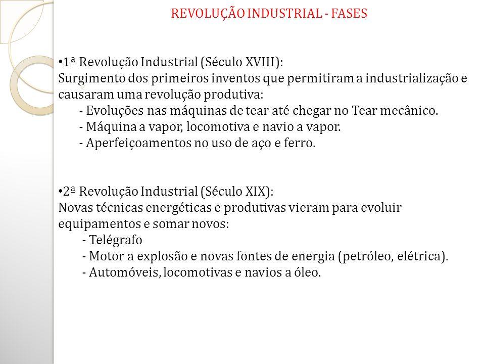 REVOLUÇÃO INDUSTRIAL - FASES 1ª Revolução Industrial (Século XVIII): Surgimento dos primeiros inventos que permitiram a industrialização e causaram um