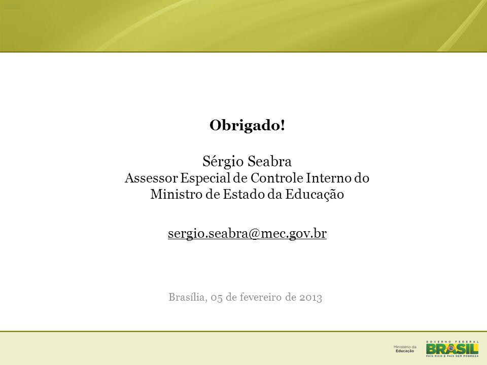 Obrigado! Sérgio Seabra Assessor Especial de Controle Interno do Ministro de Estado da Educação sergio.seabra@mec.gov.br Brasília, 05 de fevereiro de