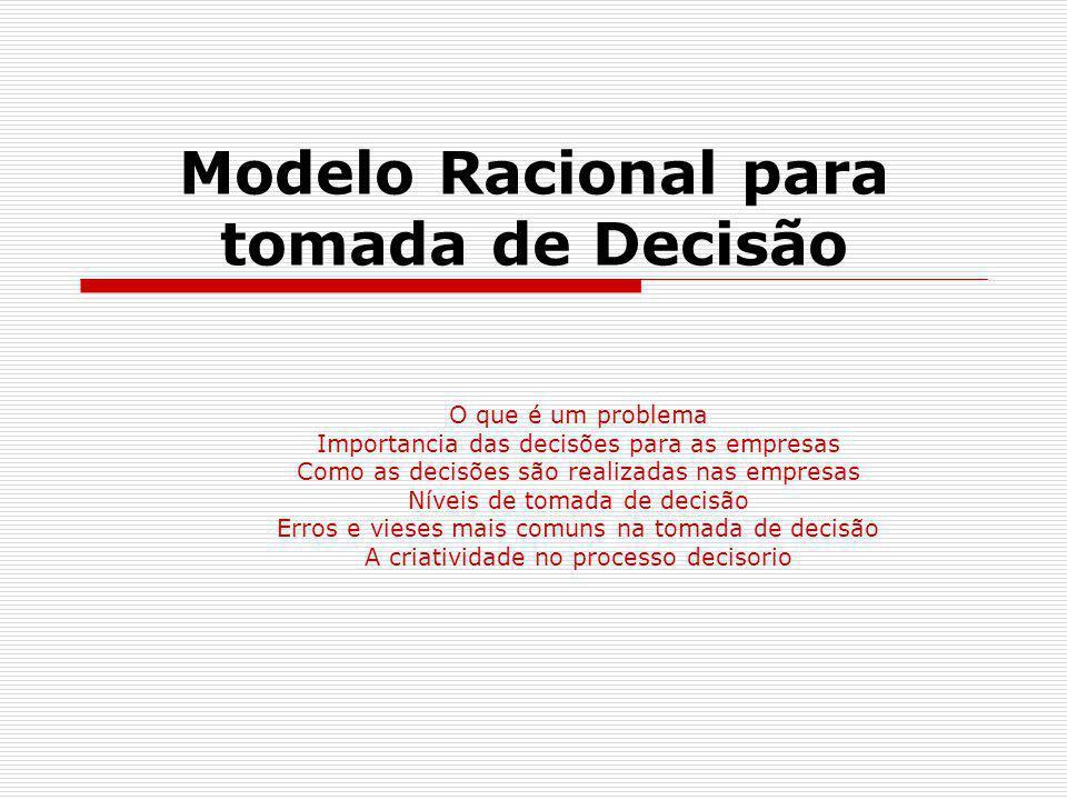 Modelo Racional para tomada de Decisão O que é um problema Importancia das decisões para as empresas Como as decisões são realizadas nas empresas Níve