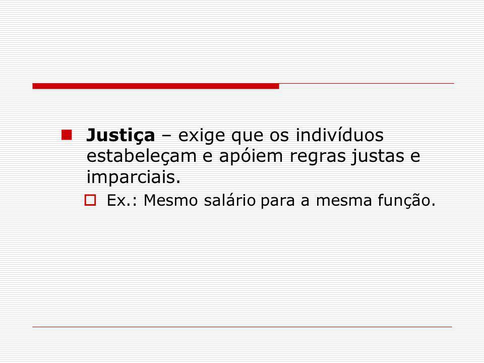 Justiça – exige que os indivíduos estabeleçam e apóiem regras justas e imparciais.  Ex.: Mesmo salário para a mesma função.