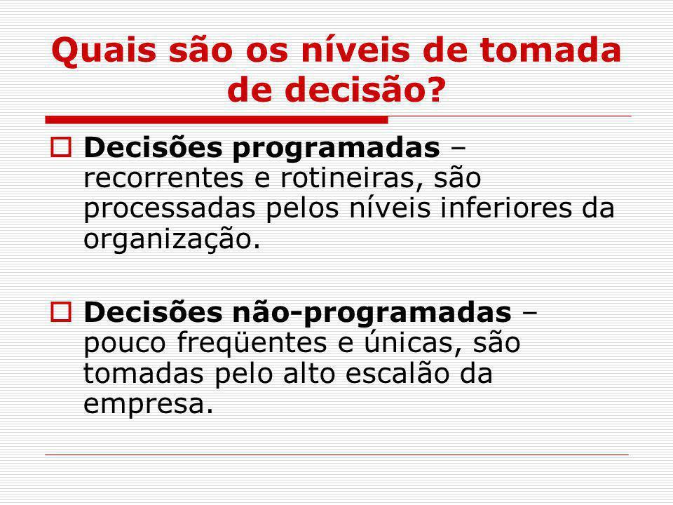 Quais são os níveis de tomada de decisão?  Decisões programadas – recorrentes e rotineiras, são processadas pelos níveis inferiores da organização. 