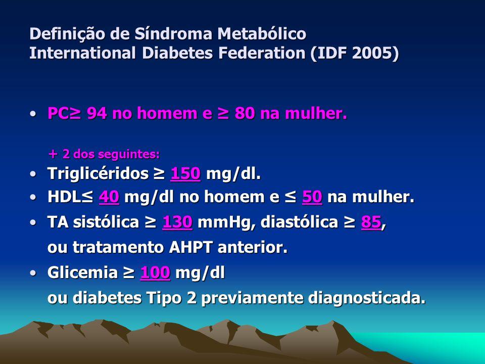 Definição de Síndroma Metabólico International Diabetes Federation (IDF 2005) PC≥ 94 no homem e ≥ 80 na mulher.PC≥ 94 no homem e ≥ 80 na mulher.