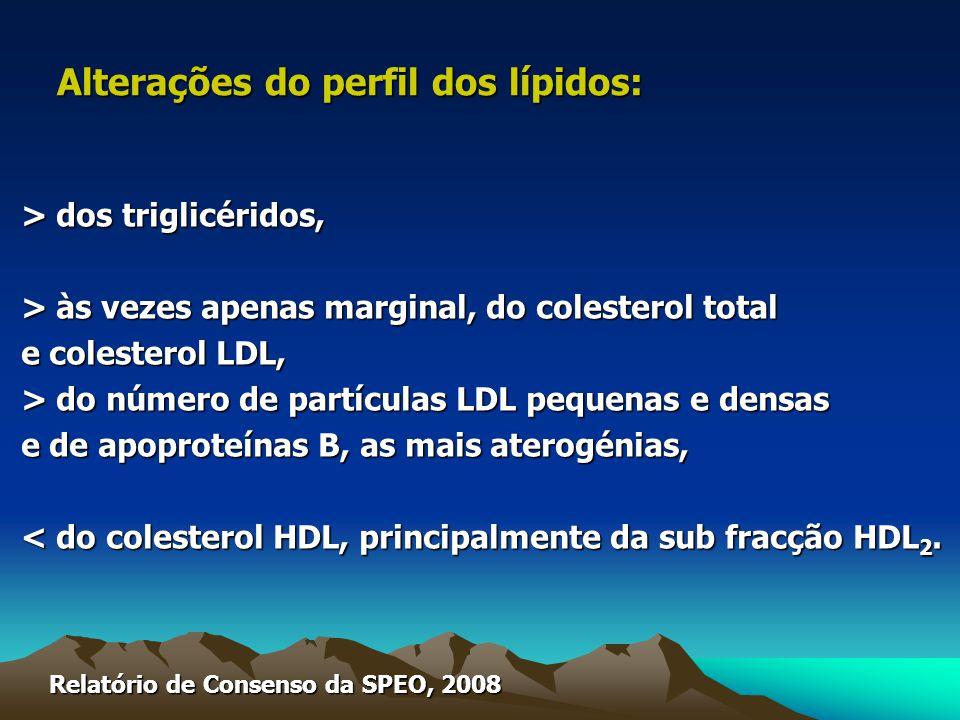 > dos triglicéridos, > às vezes apenas marginal, do colesterol total e colesterol LDL, > do número de partículas LDL pequenas e densas e de apoproteínas B, as mais aterogénias, < do colesterol HDL, principalmente da sub fracção HDL 2.