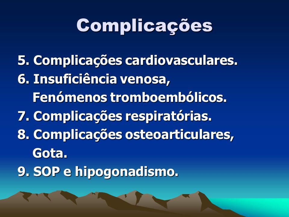 Complicações 5.Complicações cardiovasculares. 6. Insuficiência venosa, Fenómenos tromboembólicos.