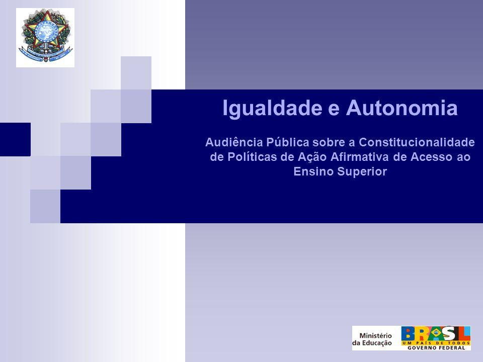 Igualdade e Autonomia Audiência Pública sobre a Constitucionalidade de Políticas de Ação Afirmativa de Acesso ao Ensino Superior
