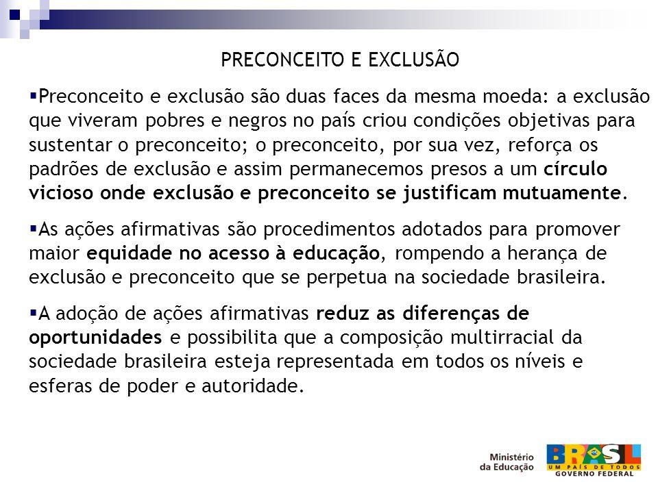 PRECONCEITO E EXCLUSÃO  Preconceito e exclusão são duas faces da mesma moeda: a exclusão que viveram pobres e negros no país criou condições objetiva