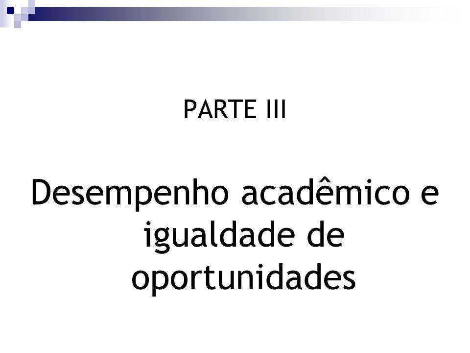 PARTE III Desempenho acadêmico e igualdade de oportunidades