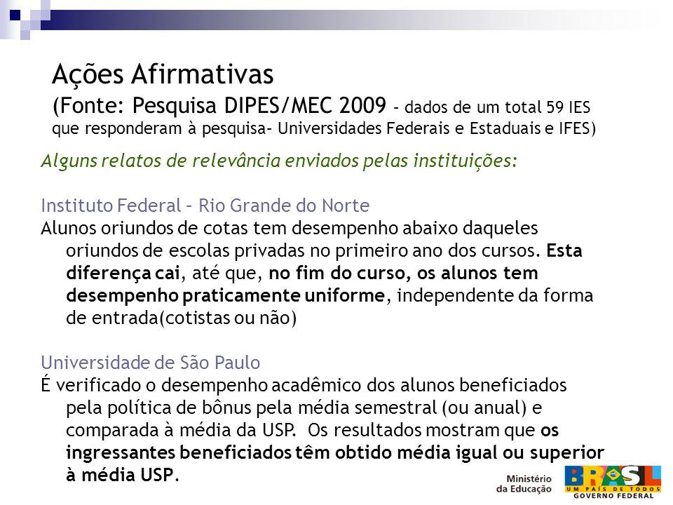 Alguns relatos de relevância enviados pelas instituições: Instituto Federal – Rio Grande do Norte Alunos oriundos de cotas tem desempenho abaixo daque
