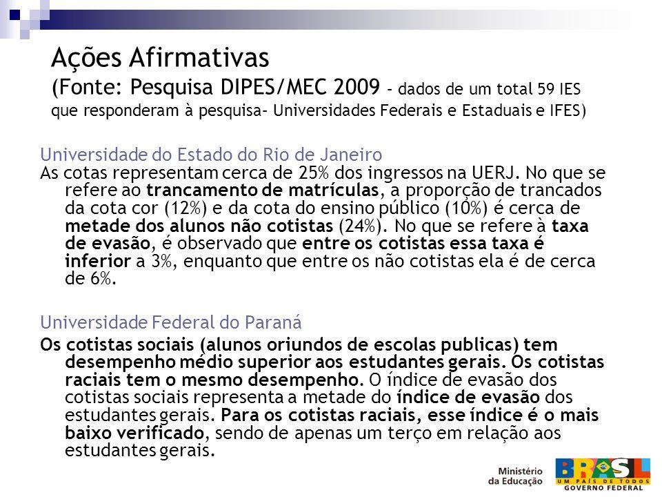 Universidade do Estado do Rio de Janeiro As cotas representam cerca de 25% dos ingressos na UERJ. No que se refere ao trancamento de matrículas, a pro