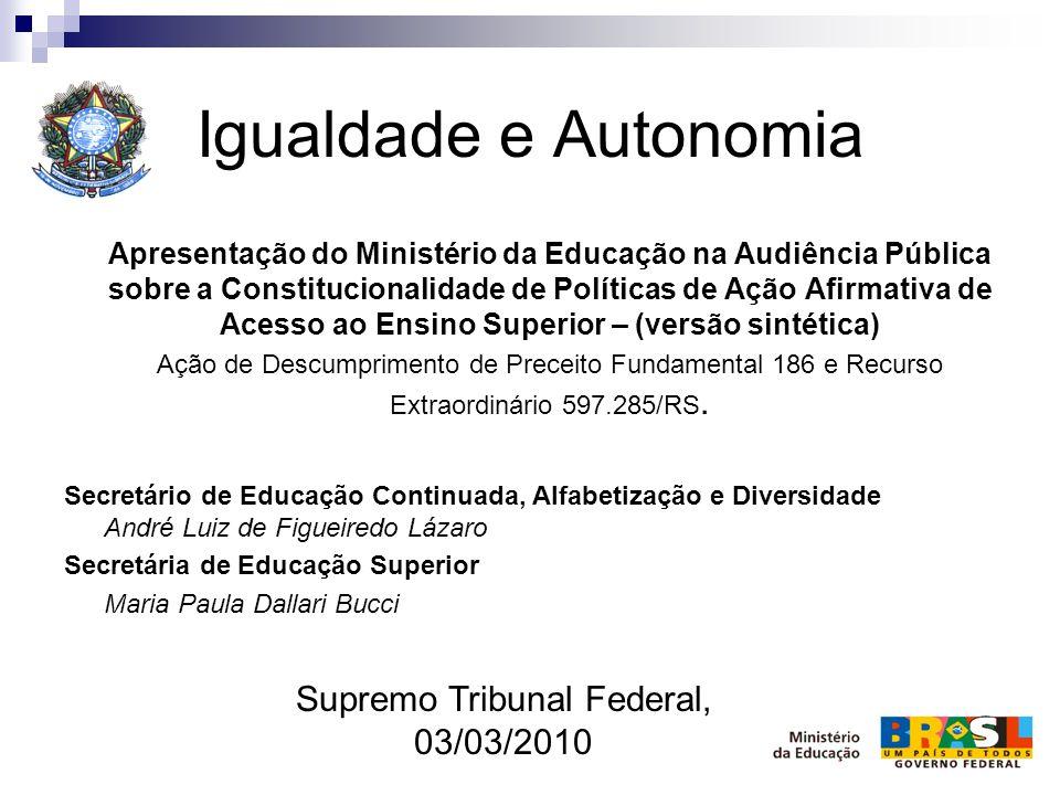 Igualdade e Autonomia Apresentação do Ministério da Educação na Audiência Pública sobre a Constitucionalidade de Políticas de Ação Afirmativa de Acess