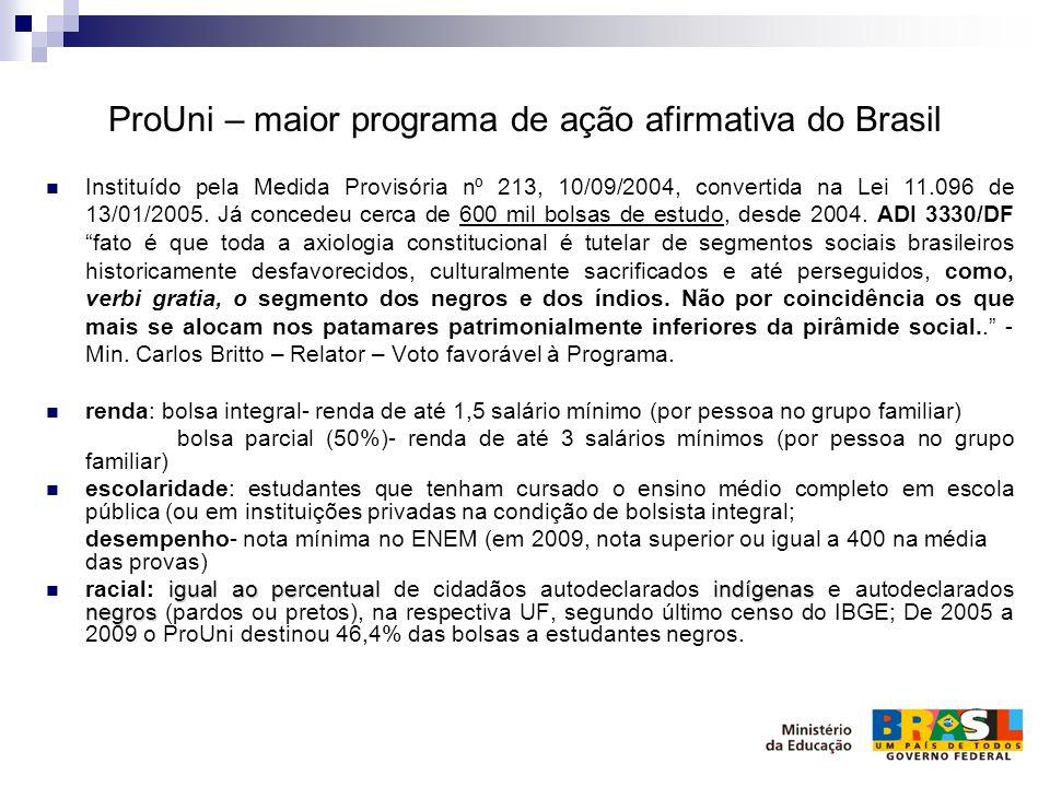 ProUni – maior programa de ação afirmativa do Brasil Instituído pela Medida Provisória nº 213, 10/09/2004, convertida na Lei 11.096 de 13/01/2005. Já