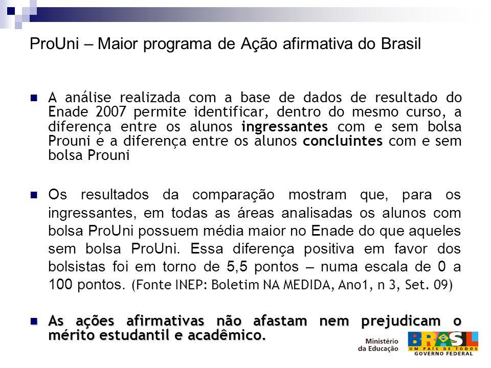 ProUni – Maior programa de Ação afirmativa do Brasil A análise realizada com a base de dados de resultado do Enade 2007 permite identificar, dentro do