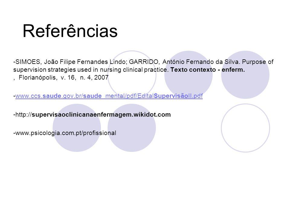 Referências -SIMOES, João Filipe Fernandes Lindo; GARRIDO, António Fernando da Silva.
