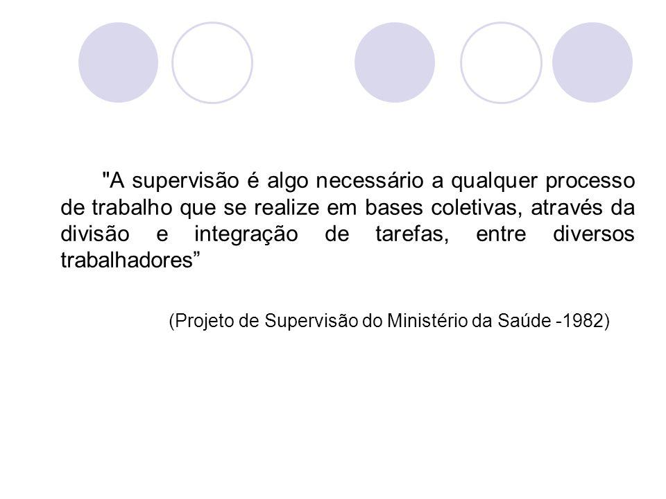 A supervisão é algo necessário a qualquer processo de trabalho que se realize em bases coletivas, através da divisão e integração de tarefas, entre diversos trabalhadores (Projeto de Supervisão do Ministério da Saúde -1982)