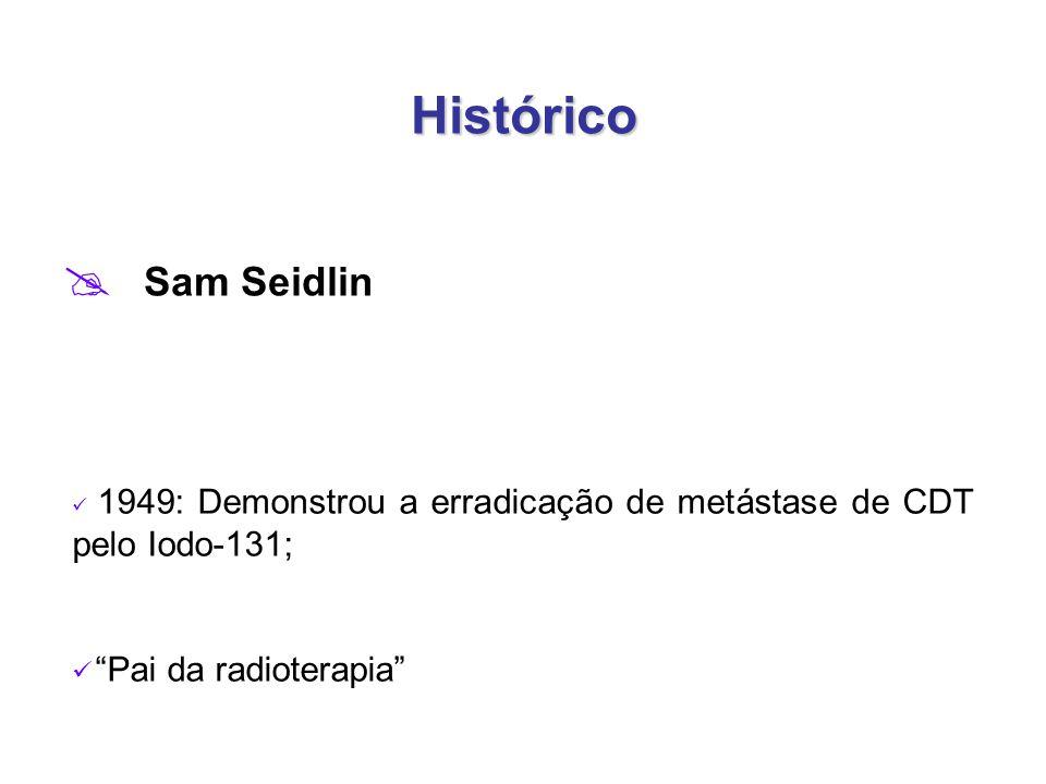 Histórico  Sam Seidlin 1949: Demonstrou a erradicação de metástase de CDT pelo Iodo-131; Pai da radioterapia