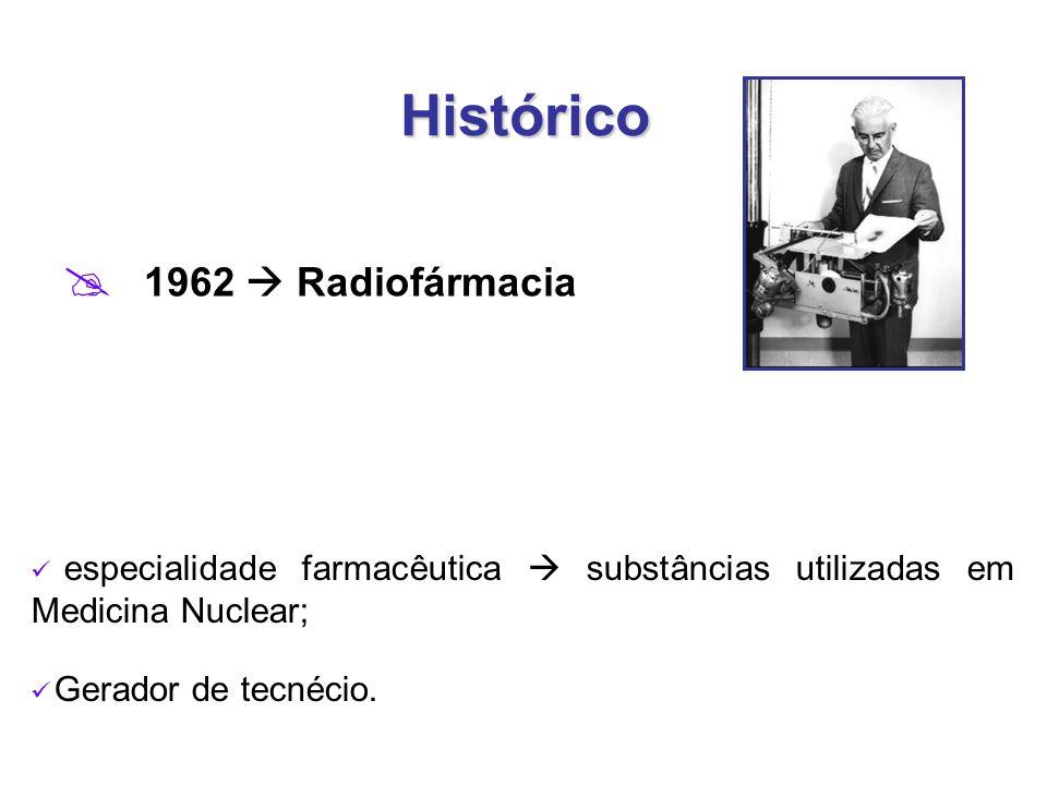 Histórico  1962  Radiofármacia especialidade farmacêutica  substâncias utilizadas em Medicina Nuclear; Gerador de tecnécio.