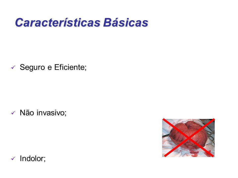 Características Básicas Seguro e Eficiente; Não invasivo; Indolor;