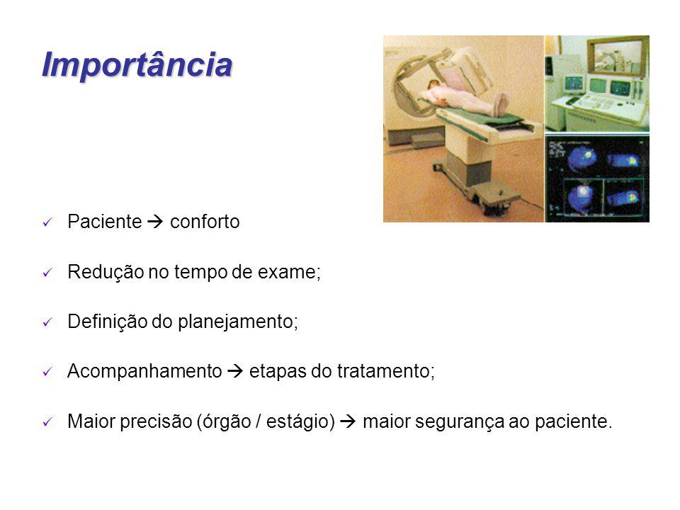 Importância Paciente  conforto Redução no tempo de exame; Definição do planejamento; Acompanhamento  etapas do tratamento; Maior precisão (órgão / estágio)  maior segurança ao paciente.