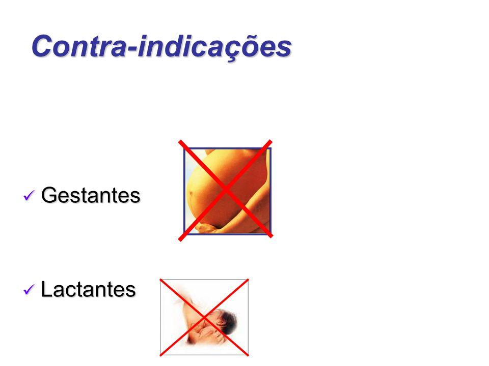 Contra-indicações Gestantes Gestantes Lactantes Lactantes