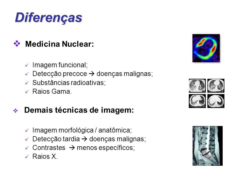 Diferenças  Medicina Nuclear: Imagem funcional; Detecção precoce  doenças malignas; Substâncias radioativas; Raios Gama.