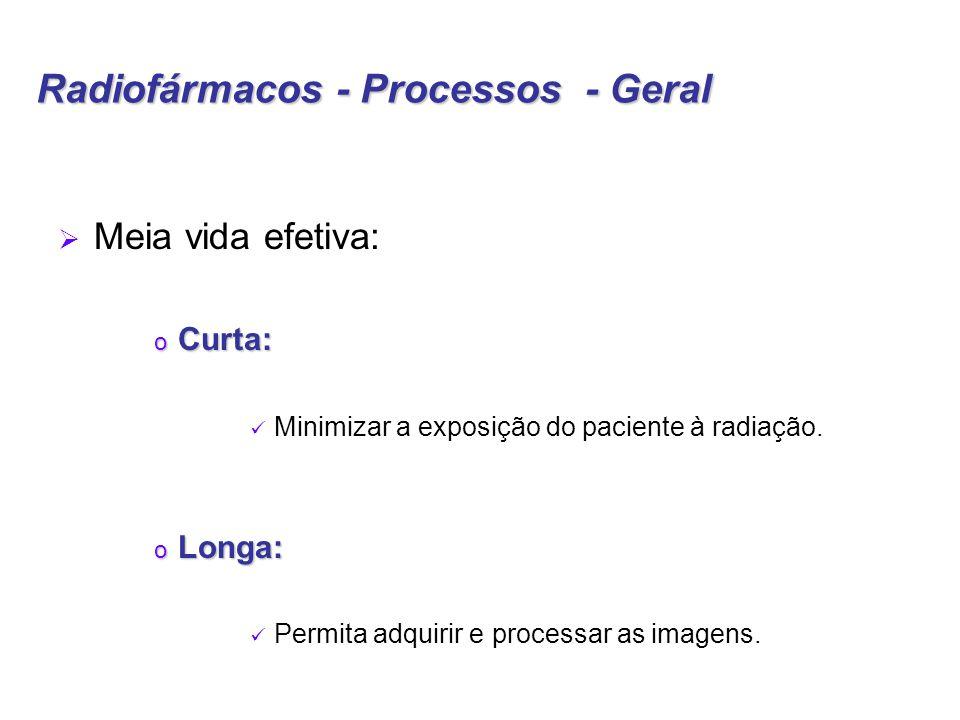 Radiofármacos - Processos - Geral  Meia vida efetiva: o Curta: Minimizar a exposição do paciente à radiação.