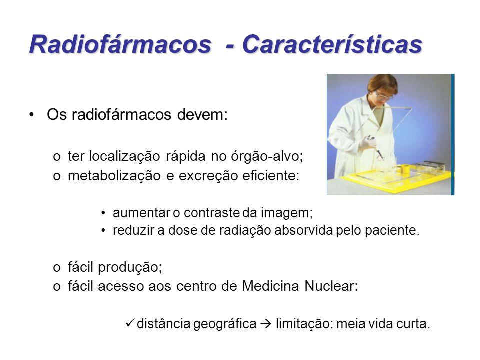 Radiofármacos - Características Os radiofármacos devem: oter localização rápida no órgão-alvo; ometabolização e excreção eficiente: aumentar o contraste da imagem; reduzir a dose de radiação absorvida pelo paciente.