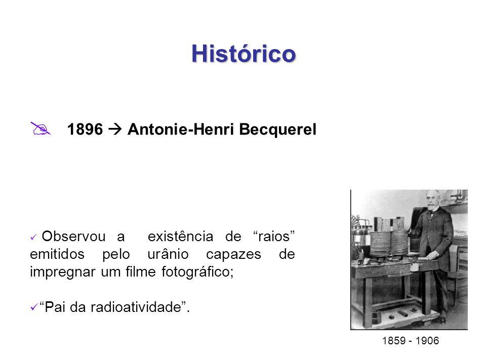 Histórico  1896  Antonie-Henri Becquerel 1859 - 1906 Observou a existência de raios emitidos pelo urânio capazes de impregnar um filme fotográfico; Pai da radioatividade .