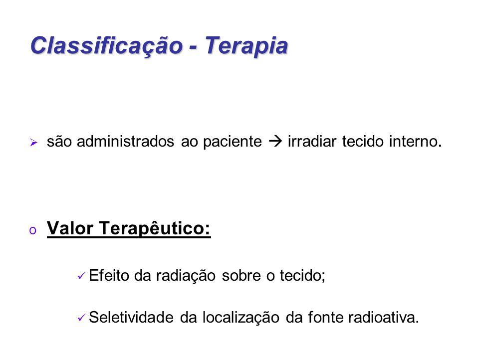 Classificação - Terapia  são administrados ao paciente  irradiar tecido interno.