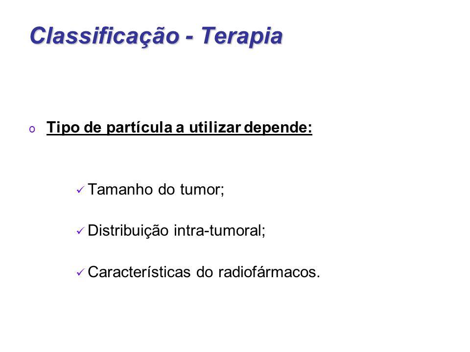 Classificação - Terapia o Tipo de partícula a utilizar depende: Tamanho do tumor; Distribuição intra-tumoral; Características do radiofármacos.