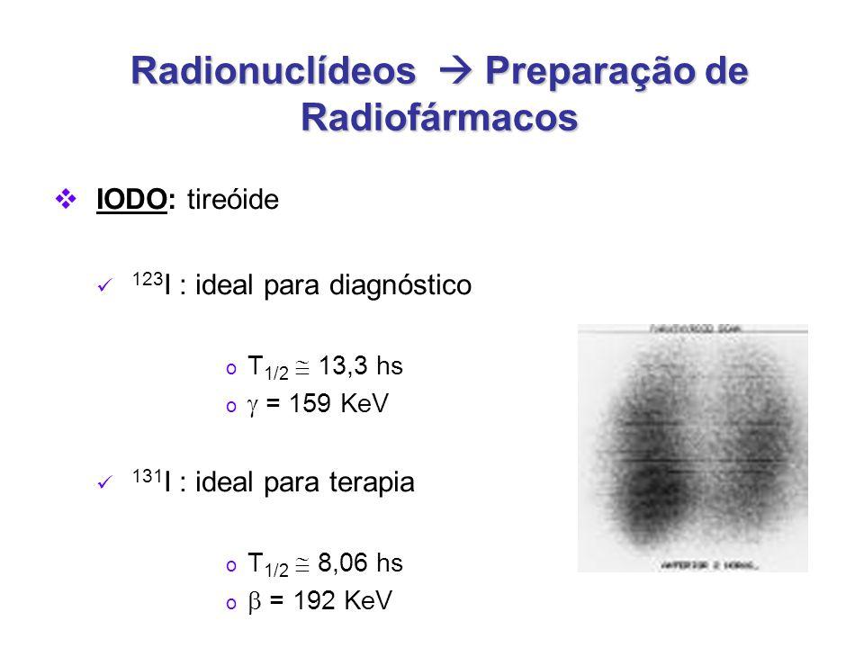 Radionuclídeos  Preparação de Radiofármacos  IODO: tireóide 123 I : ideal para diagnóstico o T 1/2  13,3 hs o  = 159 KeV 131 I : ideal para terapia o T 1/2  8,06 hs o  = 192 KeV
