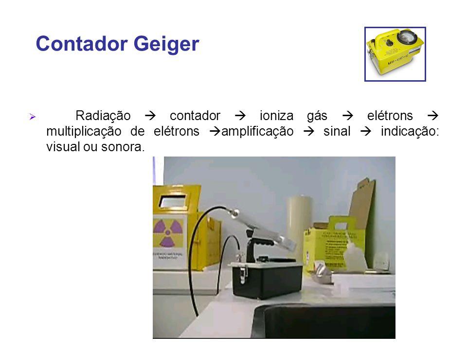 Contador Geiger  Radiação  contador  ioniza gás  elétrons  multiplicação de elétrons  amplificação  sinal  indicação: visual ou sonora.