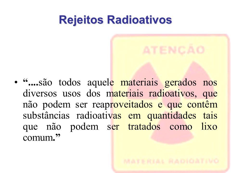 Rejeitos Radioativos ....são todos aquele materiais gerados nos diversos usos dos materiais radioativos, que não podem ser reaproveitados e que contêm substâncias radioativas em quantidades tais que não podem ser tratados como lixo comum.